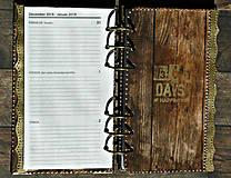 Papiernictvo - Staré drevo,vintage diár 2020/2021 pánsky,pre muža i ženu vymeniteľný obsah - 9690067_