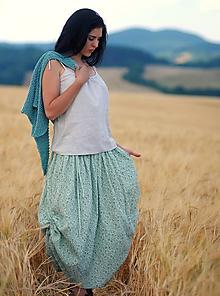 Sukne - Maxi sukně z mušelínu - mentolová kytková - 9690193_