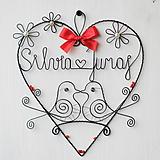 - mladomanželom - svadobné srdce ❤ 20cm     (svadobné srdiečko 25 cm s dátumom a menami) - 9694525_
