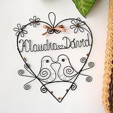 Dekorácie - mladomanželom - svadobné srdce ❤ 20cm     (Béžovo-hnedá) - 9694509_