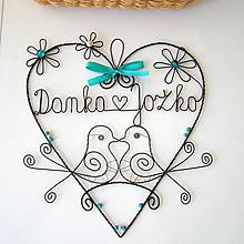 Dekorácie - mladomanželom - svadobné srdce ❤ 20cm     (Tyrkysová) - 9694514_