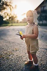 Detské čiapky - Ľanový čepček bez šiltíka (0-2 m - Hnedá) - 9693147_