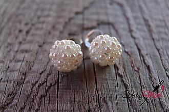 Náušnice - náušnice PP biele perličky (náušnice biele - biela perleťová) - 9693753_