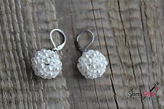 Náušnice - náušnice PP biele perličky (náušnice biele - matná biela) - 9693793_