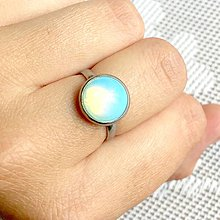 Prstene - Elegant Opalite Stainless Steel Ring / Elegantný prsteň s opalitom z chirurgickej ocele /0149 - 9693818_