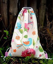 Batohy - vrecko na chrbát - vtáky a kvety - 9695212_