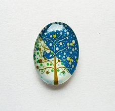 Komponenty - Kabošon - 18x25 mm - sklenený - strom, srdiečko, vtáčik, srdce - 9693644_