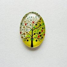 Komponenty - Kabošon - 18x25 mm - sklenený - strom, srdiečko, láska, srdce - 9693728_