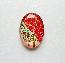Komponenty - Kabošon - 18x25 mm - sklenený - strom, srdiečko, srdce, vtáčik - 9694058_