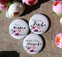 Magnetky - lutherova ruža (svadobné zrkadielko) - 9693848_