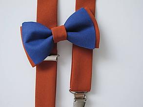 Doplnky - Pánsky motýlik a traky- set škoricovohnedý modrým - 9695554_