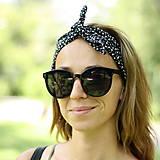 Ozdoby do vlasov - Vintage šatka do vlasov Čiernobiele kvietky - 9693415_