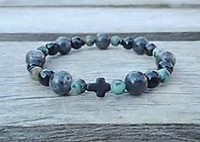 Šperky - Pánsky náramok - labradorit, tyrkys, achát - 9695331_
