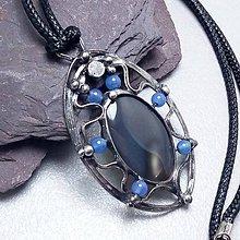 Náhrdelníky - náhrdelník Modrošedý - Achát - 9694952_