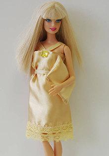 Hračky - Zlatá nočná košieľka pre Barbie - 9695827_