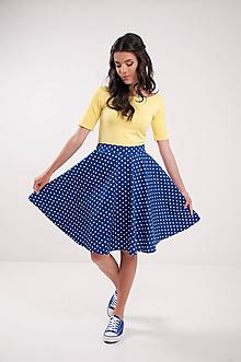 Sukne - Kruhová modrá navy bodkovaná retro sukňa Chic&lovely - 9694535_