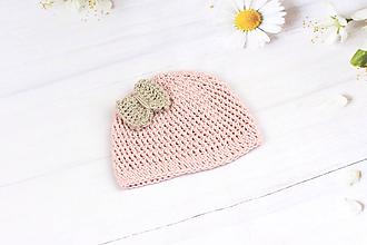 Detské čiapky - Ružovo-béžová letná čiapka EXTRA FINE - 9694467_