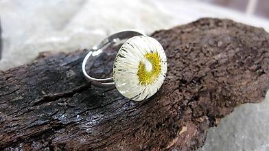 Prstene - Živicový prsteň s kvietkami (sedmokráska č.2274) - 9694830_