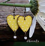 Náušnice - Heart dots // Yellow - 9695617_
