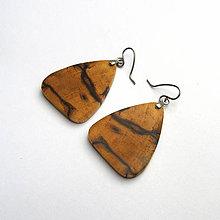 Náušnice - Špaltovaná breza - pseudo trojuholníčky - 9695676_