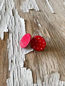 Náušnice - KARKULKY- bodkované ďobky (Červená) - 9692857_