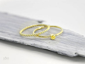 Prstene - 14k zlatý komplet prsteňov s prírodným žltým zafírom - 9698056_