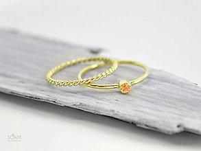 Prstene - 14k zlatý komplet prsteňov s prírodným oranžovým zafírom - 9698083_