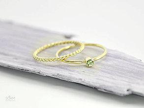 Prstene - 585/14k zlatý zásnubný komplet prsteňov s prírodným zeleným zafírom - 9698089_
