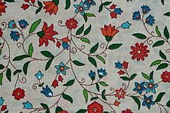Textil - Látka Ľudové kvietky na režnej - 9697306_