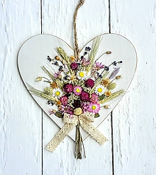 Dekorácie - Srdiečko so sušenými rastlinami - 9696898_