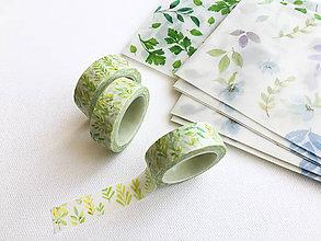 Papier - dekoračná washi páska Lístky, 15 mm x 7 m - 9697396_