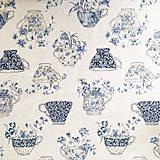 modré šáločky, pevné plátno, šírka 140 cm, cena za 0,5 m
