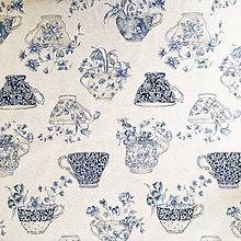 Textil - modré šáločky, pevné plátno, šírka 140 cm, cena za 0,5 m - 9697375_