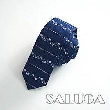 Doplnky - Folklórna slim kravata - modrotlač - 9697660_