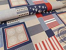 Textil - Látka námornický vzor - 9696956_