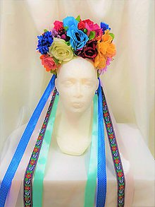 Ozdoby do vlasov - Pestrofarebná folková kvetinová parta - 9697712_