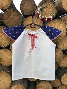 Detské oblečenie - Folklórna košielka z modrotlače - 9698726_