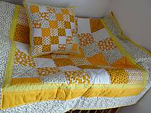 Úžitkový textil - Žltá patchworková súprava - 9697808_