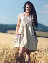 Šaty - Luční kvítí - přírodní smetanové - 9697803_