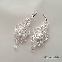 Náušnice - Fedora swarovski (s bielou perlou) - 9698349_