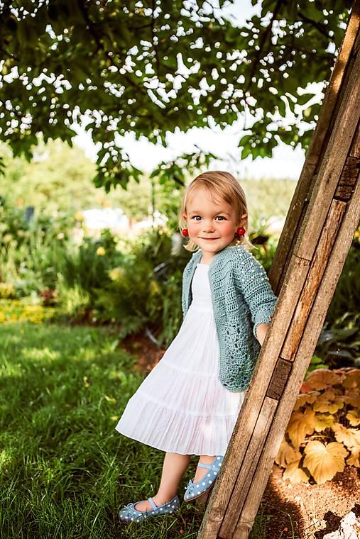 Detské oblečenie - Mentolový svetrík s perličkami - 9698707_