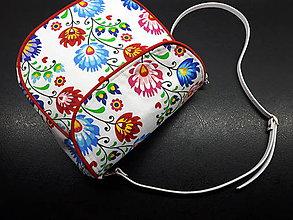 Veľké tašky - Crossbody Folk kabelka (Biela s červeným lemom) - 9700063_