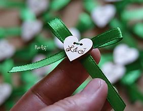 Pierka - Svadobné pierka s mašličkou zelenou - 9699332_