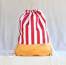 Batohy - Vak uťahovací - žltý podklad & červeno biele pruhy - 9700038_