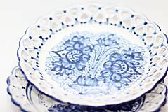Nádoby - Modrý čipkovaný dvojradový tanier - 9699976_