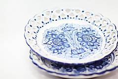 Nádoby - Modrý čipkovaný dvojradový tanier - 9699977_