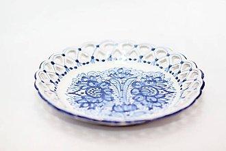 Nádoby - Modrý čipkovaný dvojradový tanier - 9699969_