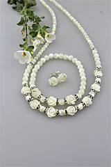 perleť kvietky náramok, náhrdelník, náušnice - svadobný set