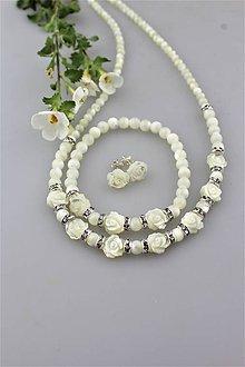 Sady šperkov - perleť kvietky náramok, náhrdelník, náušnice - svadobný set - 9700172_