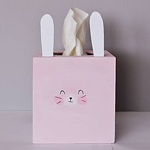 Krabičky - Krabička na servítky- Zajačik (Ružová) - 9700738_